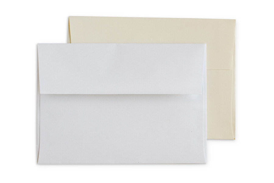 Premium: Linen envelopes in White or Cream with square flap