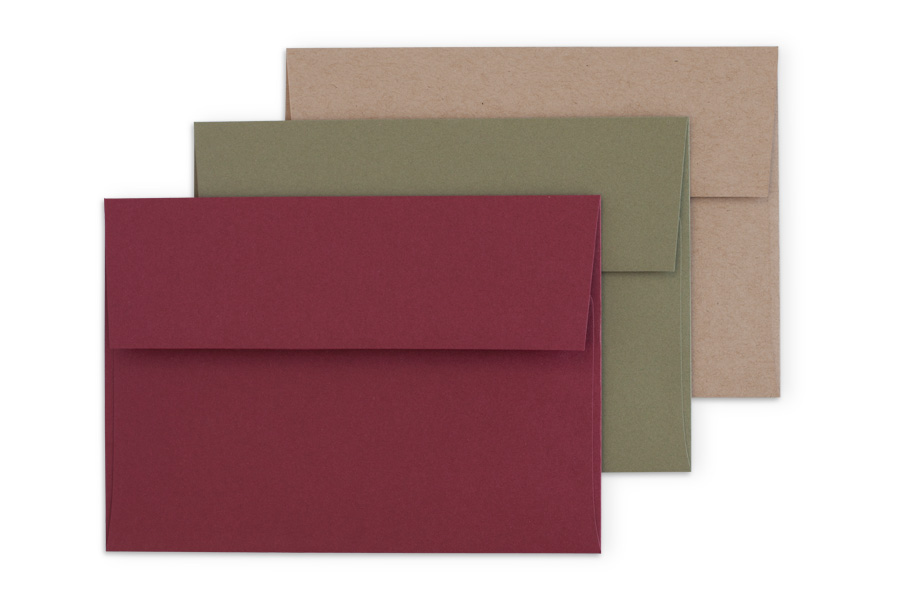 Premium: Maroon, Olive, or Craft envelopes with square flap