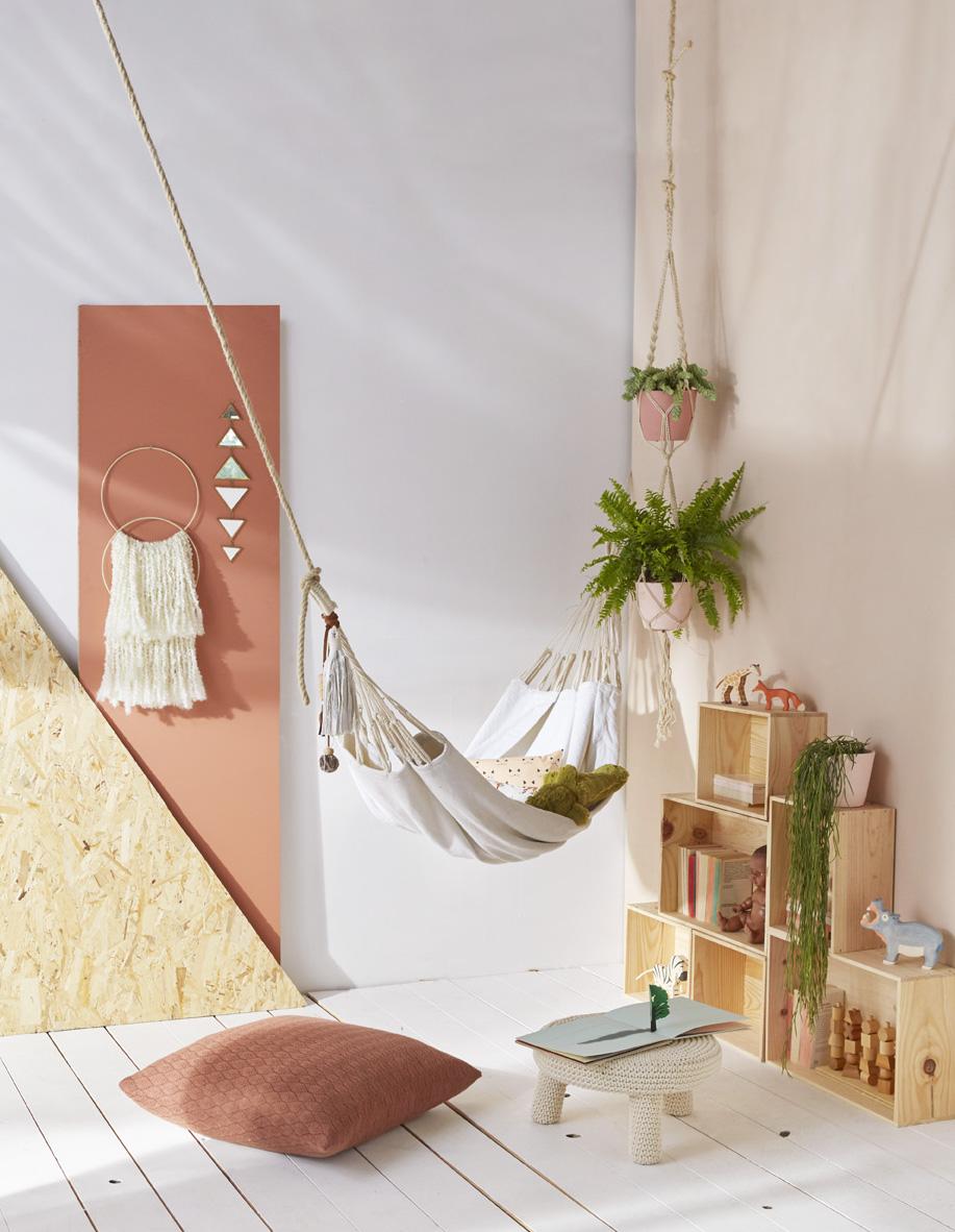 chambre enfant hamac tenture laine le petit florilège