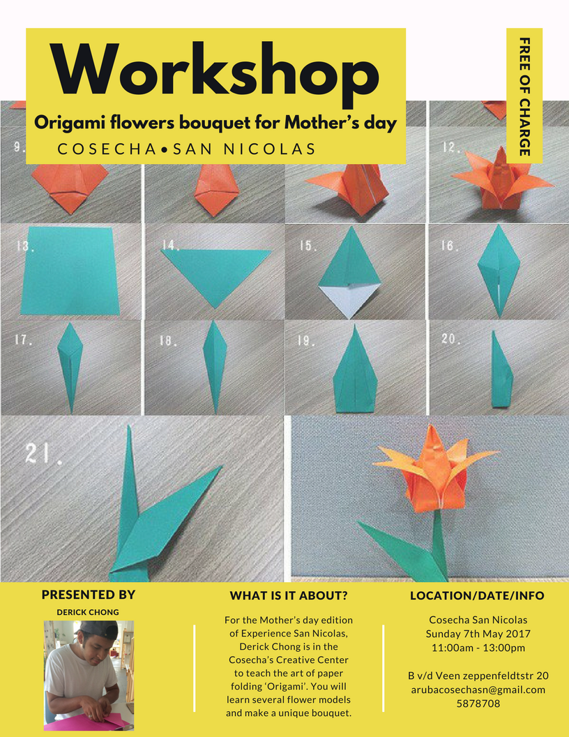 Mothers Day Workshop With Bouguet Origami Flowers Cosecha Aruba