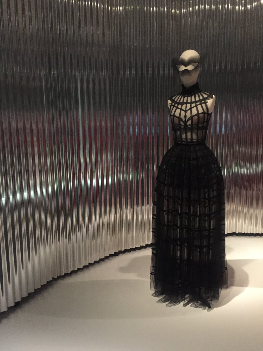 Dior's present and first female artistic designer, Maria Grazia Chiuri, brings  Féerie , a sheer woven horsehair cage atop a ribbon embroidered velvet skirt from the Spring-Summer 2018 collection