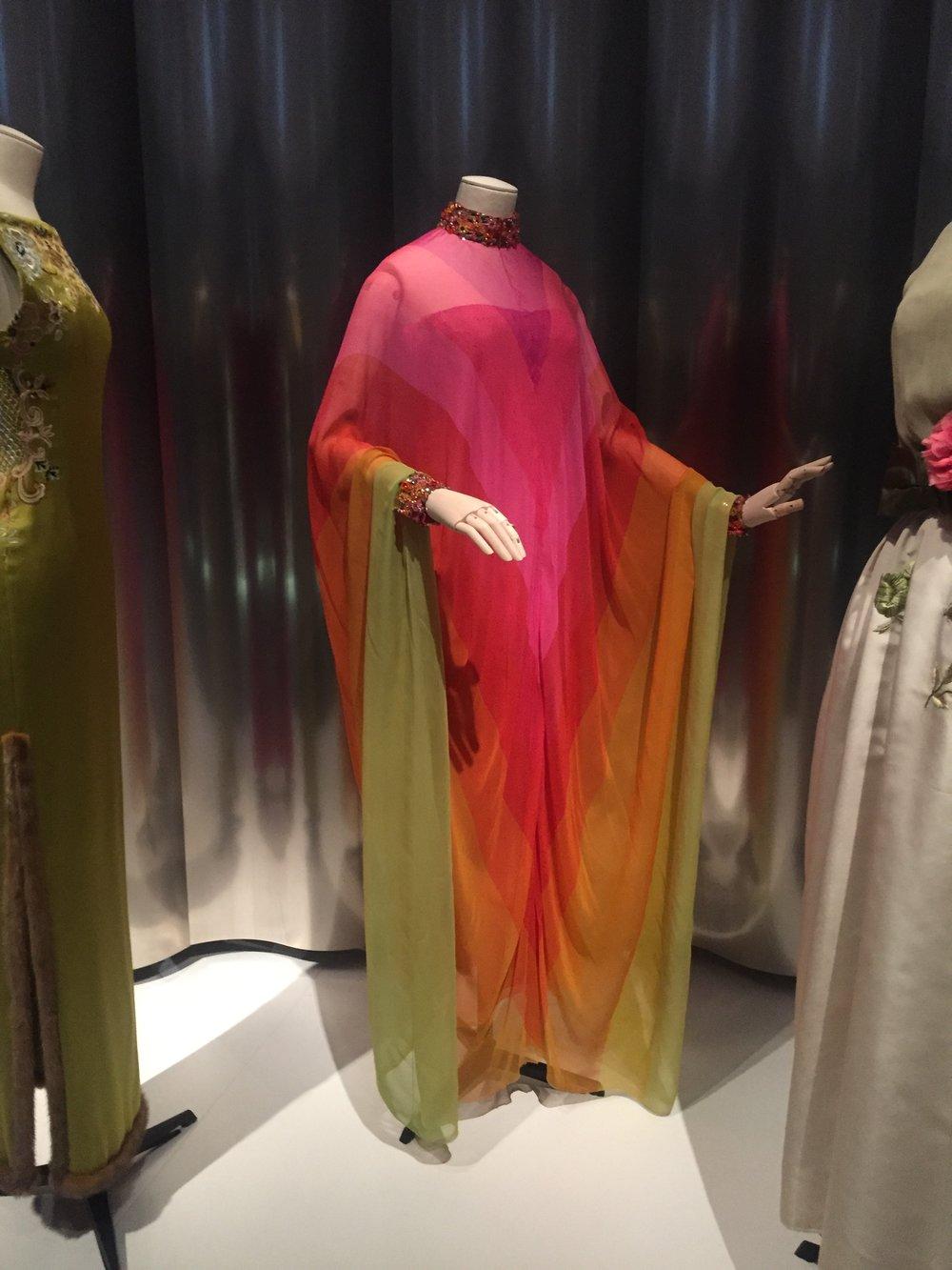 Dior's third artistic designer, Marc Bohan, made this pop art floor-length chiffon evening dress for Haute Couture Spring-Summer 1967