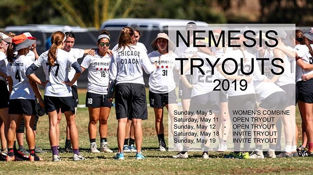 announcing 2019 tryouts!!! 😈 sign up for the women's combine and the nemesis tryout interest form via the link in our bio 😈
