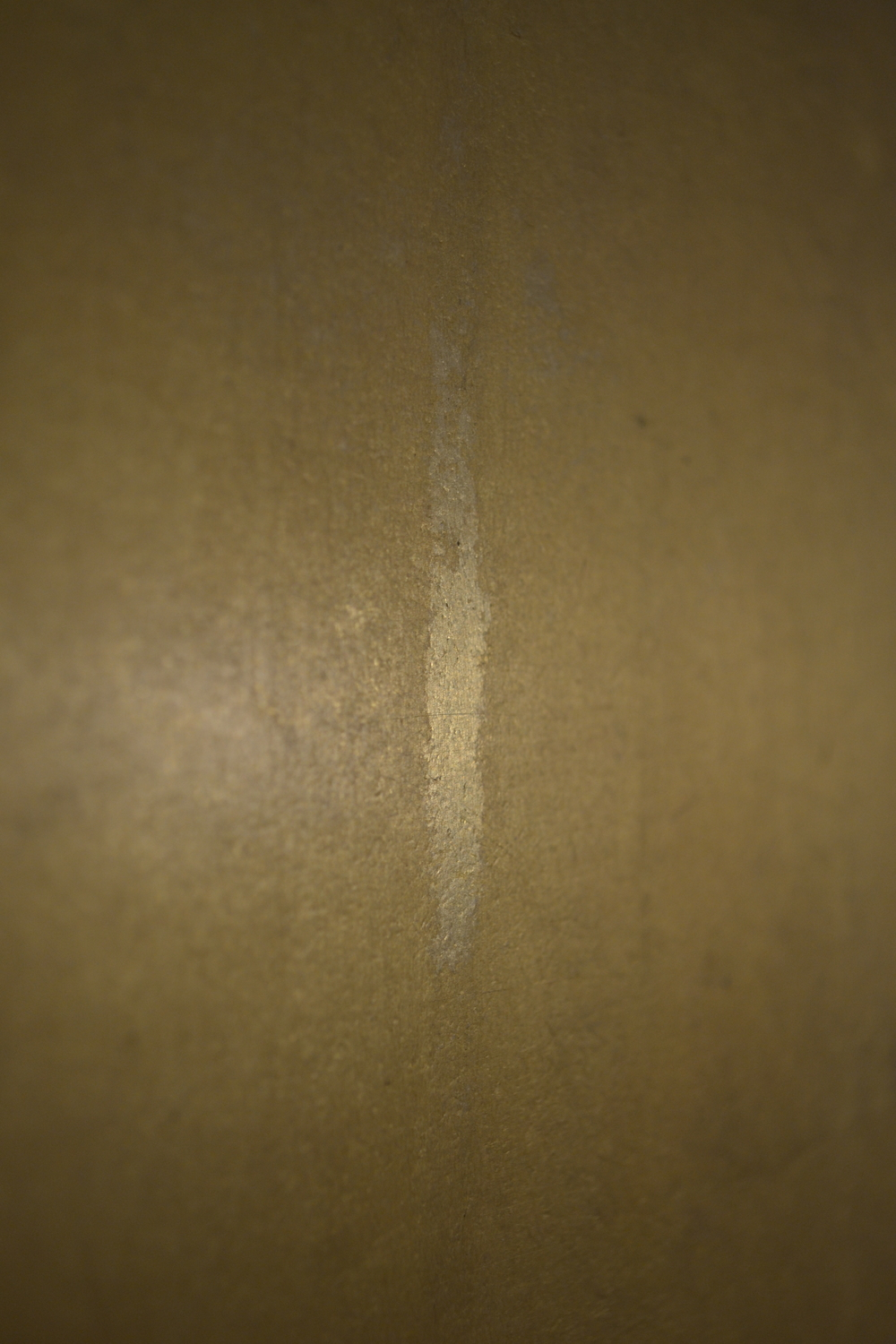 A surface drip probably from condensation along the skylights above the Cross.  The drip removed the surface dirt and natural resin coating, showing the difference between the coated and uncoated gilding.