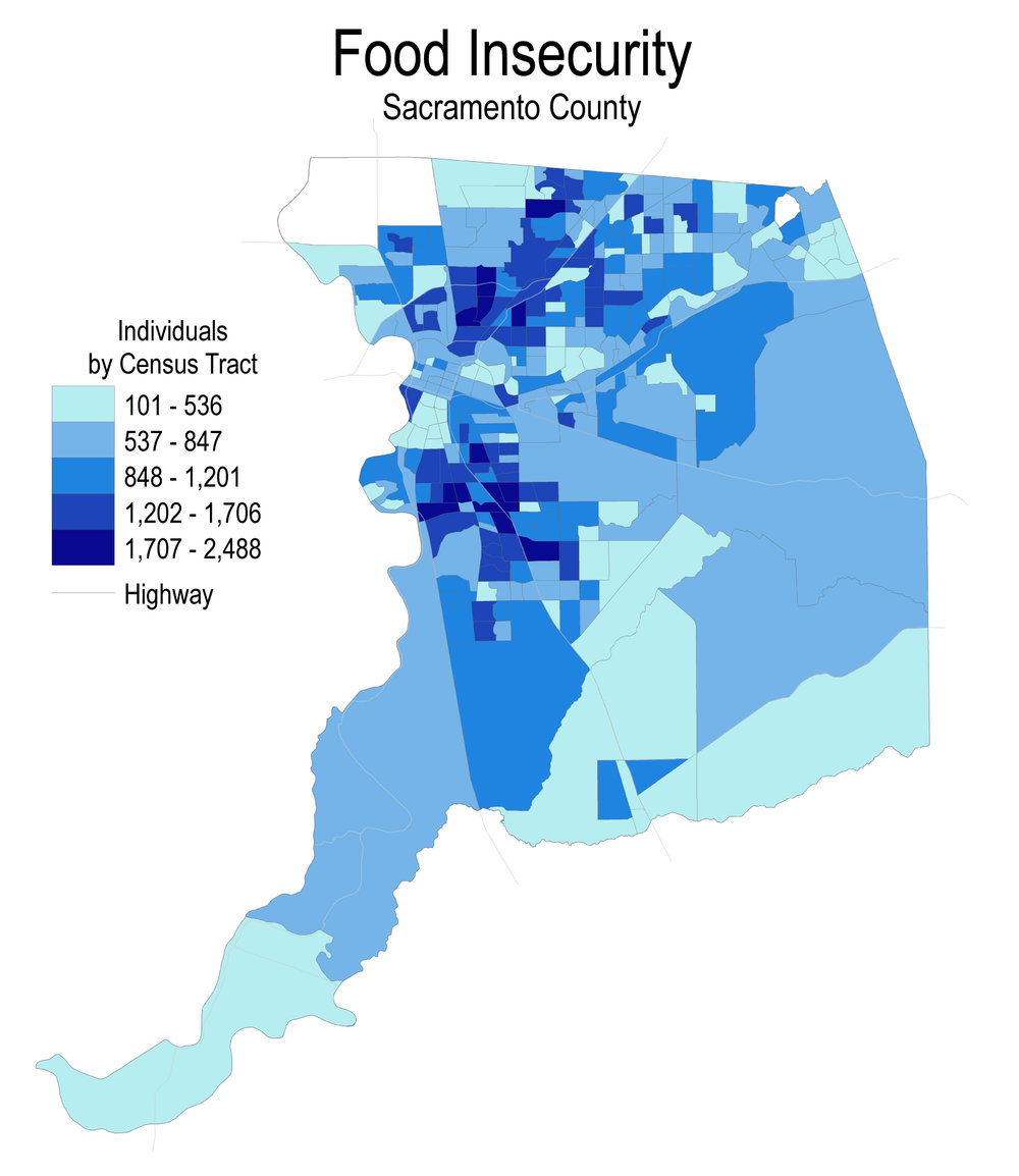 16.3% (238,760) of those living in Sacramento county are food insecure. See which parts of the county struggle with the highest rate of food insecurity.