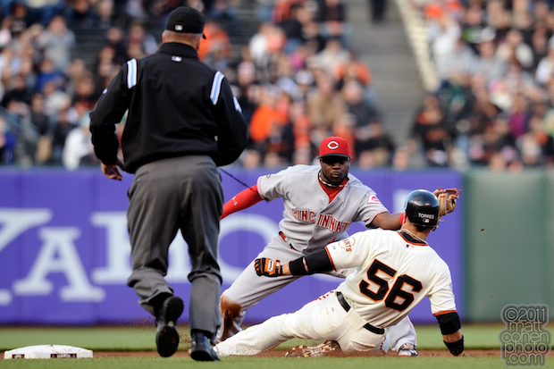 Brandon Phillips & Andres Torres - Cincinnati Reds at San Francisco Giants 6-9-11