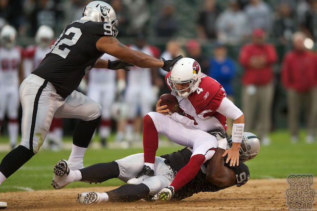 Kevin Kolb & Tommy Kelly - Arizona Cardinals at Oakland Raiders