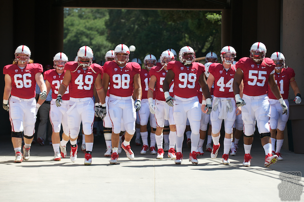 Stanford players walk through the tunnel.