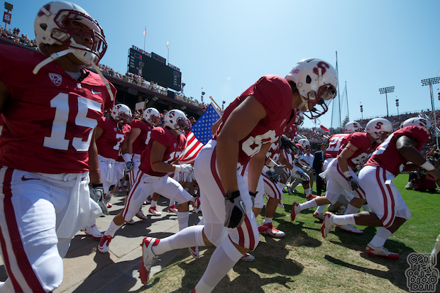 Stanford players take the field.