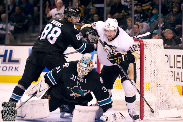 James Neal, Brent Burns & Antti Niemi