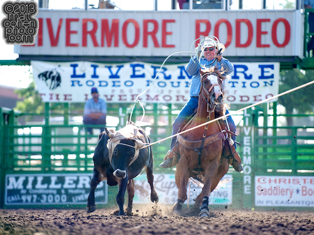 Team roper Kevin Wilkinson of Lincoln, CA competes at the Livermore Rodeo in Livermore, CA.