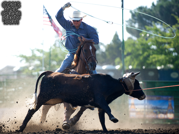 Team roper Justin Davis of Cottonwood, CA competes at the Livermore Rodeo in Livermore, CA.