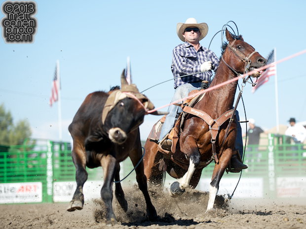 Team roper Jake Twisselman of Santa Margarita, CA competes at the Livermore Rodeo in Livermore, CA.