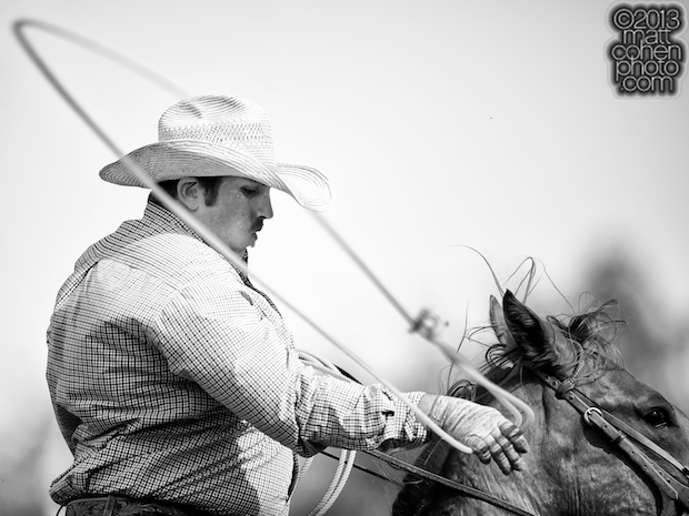 Team roper Cord Forzano of Kerman, CA competes at the Livermore Rodeo in Livermore, CA.