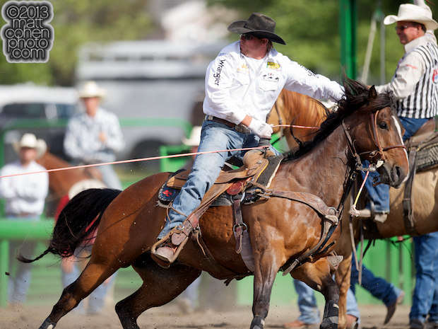 Team roper Spencer Mitchell of Colusa, CA competes at the Livermore Rodeo in Livermore, CA.