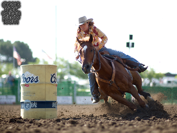 Barrel racer Mary Jo Camera of Turlock, CA competes at the Livermore Rodeo in Livermore, CA.