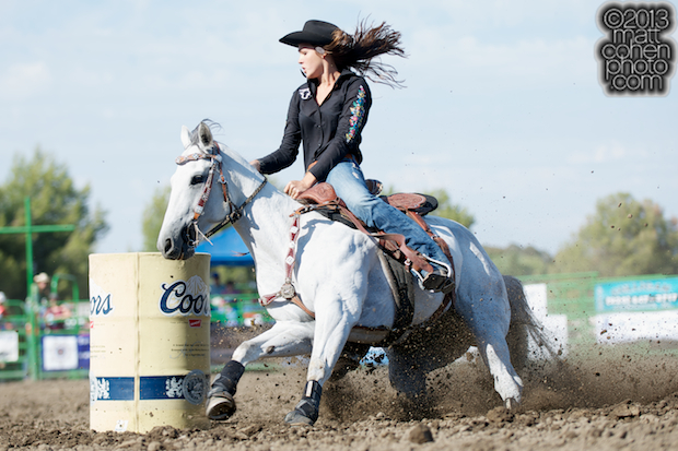 Barrel racer Nicole Riggle of Scottsdale, AZ competes at the Livermore Rodeo in Livermore, CA.