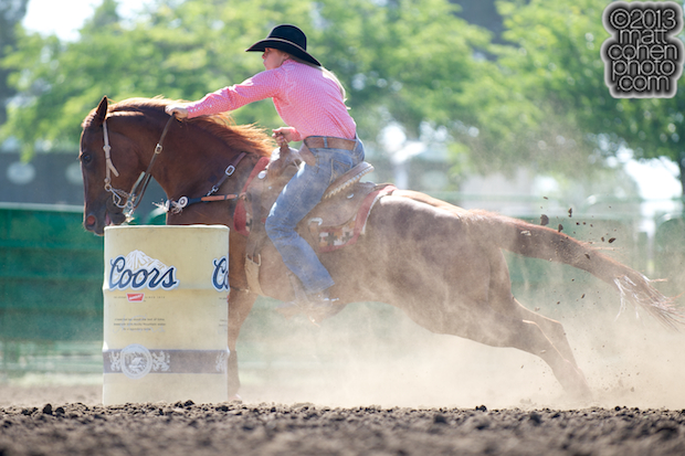 Barrel racer Courtney Cline of Arroyo Grande, CA competes at the Livermore Rodeo in Livermore, CA.