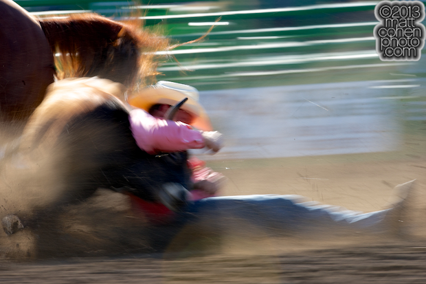 Steer wrestler Charles Harris of Salinas, CA competes at the Livermore Rodeo in Livermore, CA.