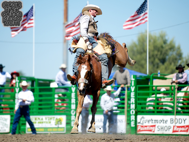 Bareback rider Cody Kiser of Carson City, NV rides Tattle Tale at the Livermore Rodeo in Livermore, CA.