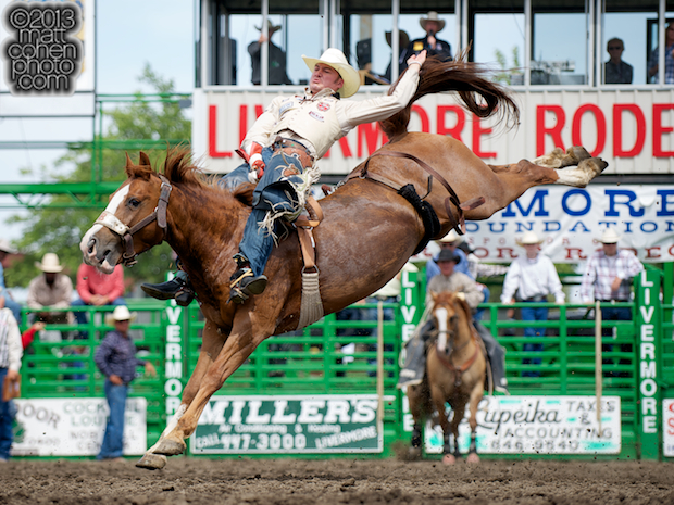 Bareback rider Steven Peebles of Redmond, OR rides Beaver Fever at the Livermore Rodeo in Livermore, CA.