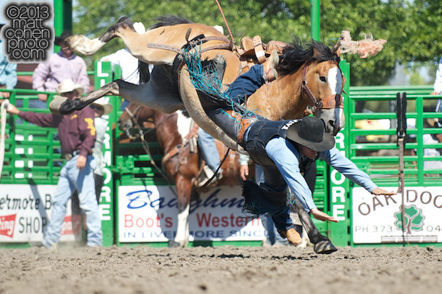 Saddle bronc rider Greg Lewis of Atascadero, CA gets bucked off Flat Head at the Livermore Rodeo in Livermore, CA.