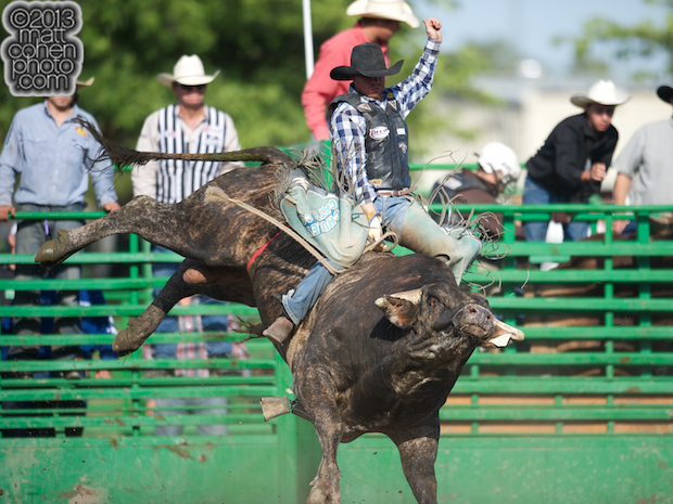 Bull rider Cody Campbell of Summerville, OR rides Glory Days at the Livermore Rodeo in Livermore, CA.