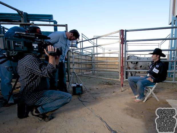 Shane Proctor gets interviewed in his flip flops