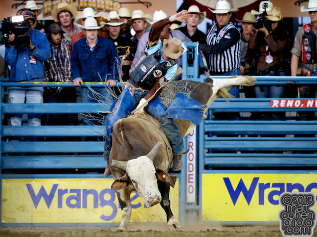 Bull rider Tyler Willis of Wheatland, WY rides Bring It