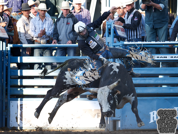 Bull rider Shane Proctor of Grand Coulee, WA rides Big Jake