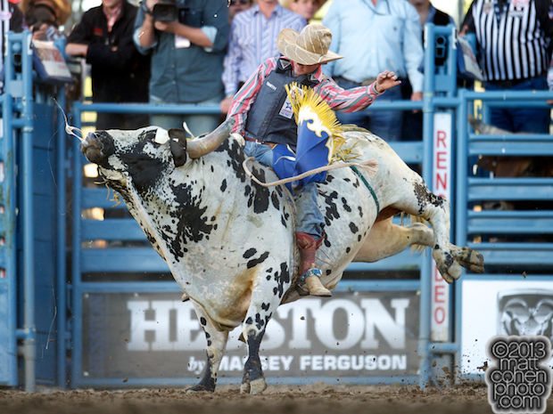 Bull rider Tyler Smith of Fruita, CO rides Super Bull