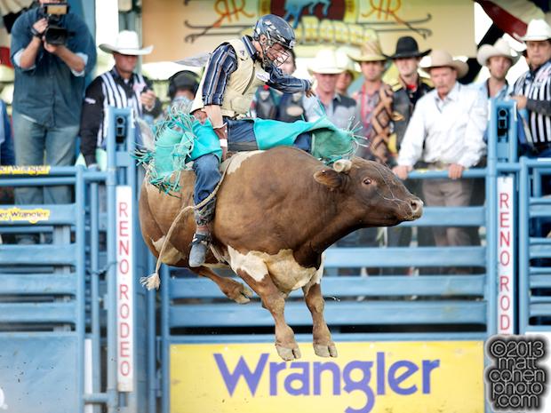 Bull rider Brett Stall of Detroit Lakes, MN rides Speed Bump
