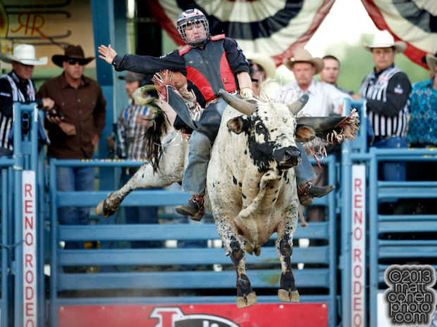 Bull rider Friday Wright II of Moss Point, MS rides Fudge