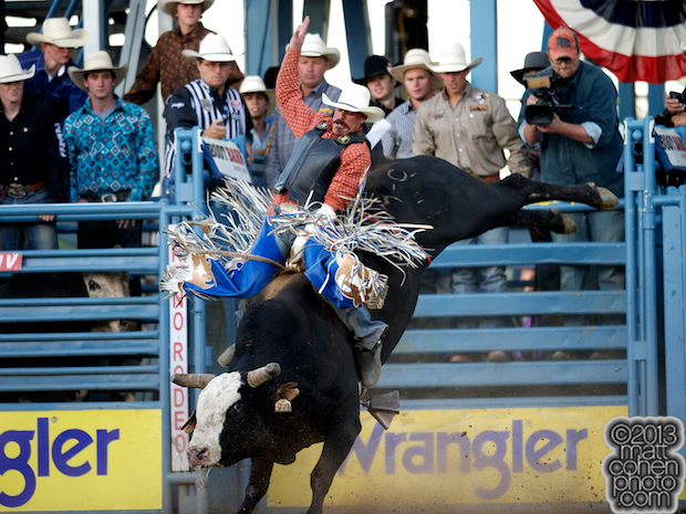 Bull rider Corey Maier of Timber Lake, SD rides Wolf Hound