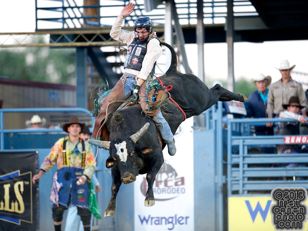 Bull rider Seth Glause of Rock Springs, WY rides Wildly Legit