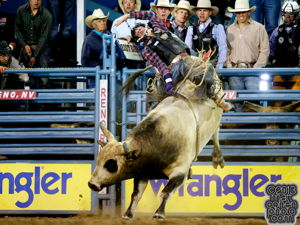 Bull rider Cole Echols of Elm Grove, LA rides Just My Size