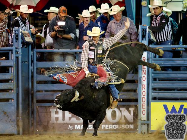 Bull rider J.W. Harris of Mullin, TX rides 802