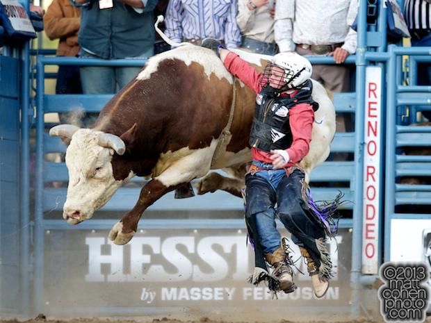 Bull rider Trey Benton III of Rock Island, TX gets bucked off Looks Like Me