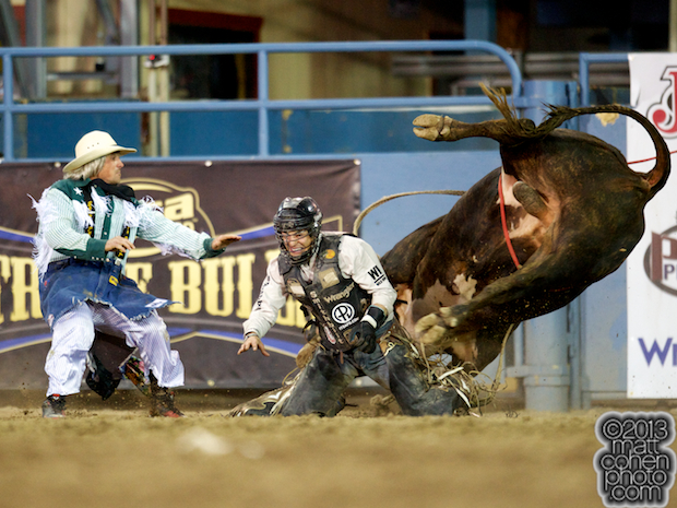 Bull rider Ty Pozzobon of Merritt, B.C. gets bucked off Snugly