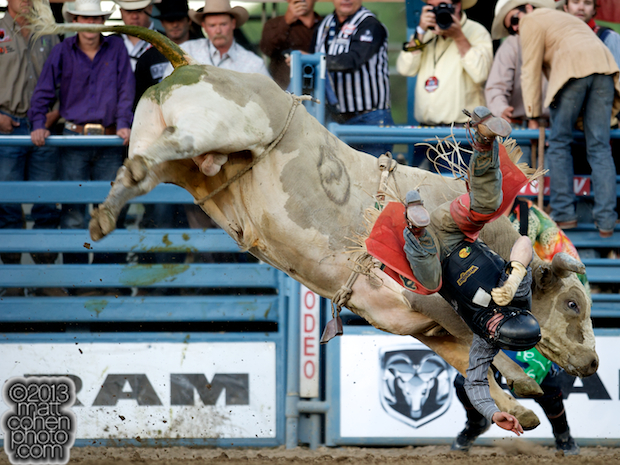 Bull rider Brant Atwood of Pampa, TX gets bucked off Big Cool