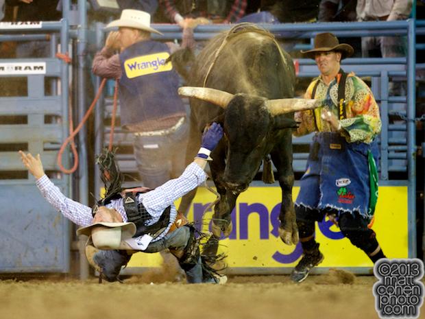 Bull rider Kaycee Rose of Clovis, CA gets bucked off a re-ride bull
