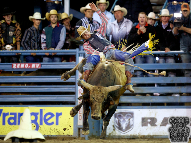 Bull rider Tyler Smith of Fruita, CO rides Crystal Deal for 93 points and the win in the short round
