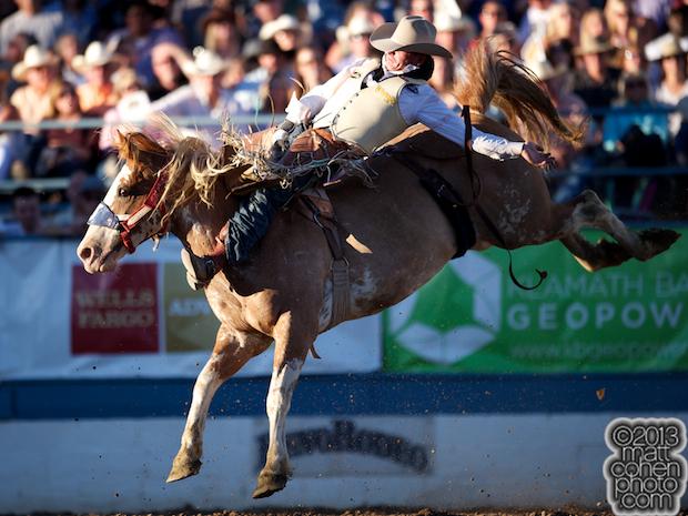 Bareback rider Ryan Gray of Cheney, WA rides Dream With Me at the Reno Rodeo in Reno, NV.