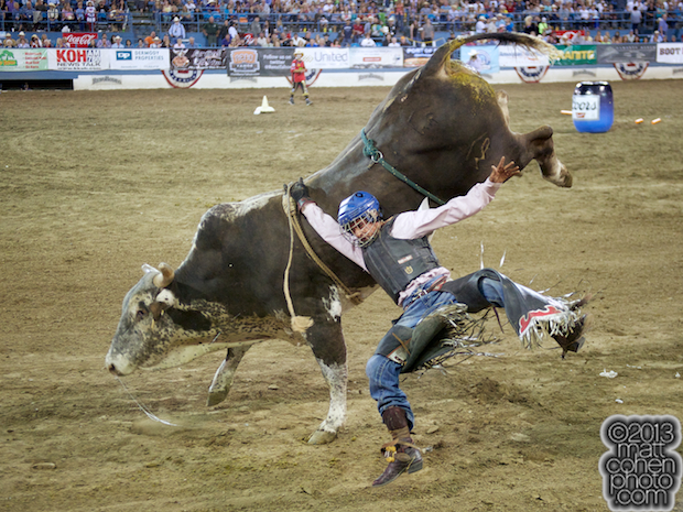 Bull rider Corey Rickard of Nuevo, CA gets bucked off General Lee at the Reno Rodeo in Reno, NV.