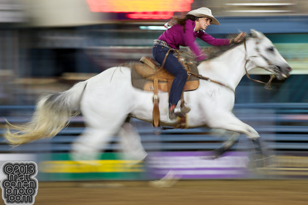 Barrel racer Whitney Baker of Stephenville, TX competes at the Reno Rodeo in Reno, NV.