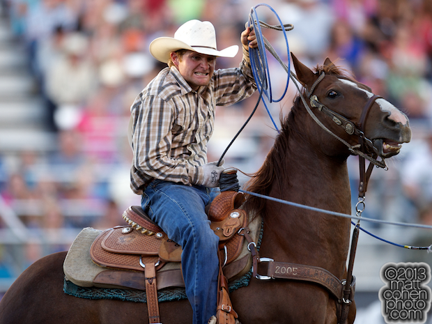 Team roper Shawn Manning of Scotia, CA competes at the Reno Rodeo in Reno, NV.
