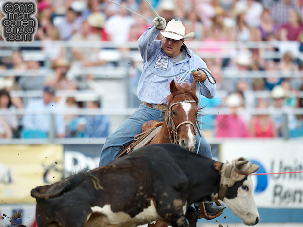 Team roper Martin Lucero of Stephenville, TX competes at the Reno Rodeo in Reno, NV.
