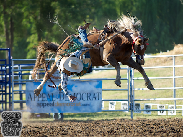 Saddle bronc rider Luke White of Lincoln, CA gets bucked off 845 at the Marysville Stampede in Marysville, CA.