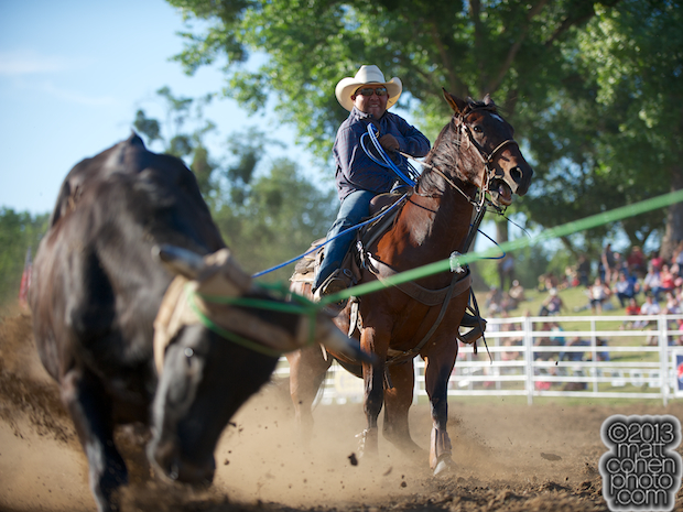 Team roper Joseph Shawnego of Oakdale, CA competes at the Marysville Stampede in Marysville, CA.