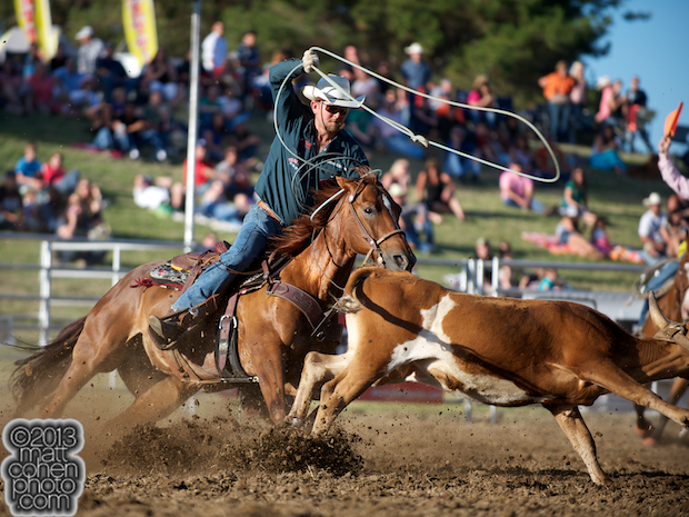 Team roper Justin Davis of Cottonwood, CA competes at the Marysville Stampede in Marysville, CA.